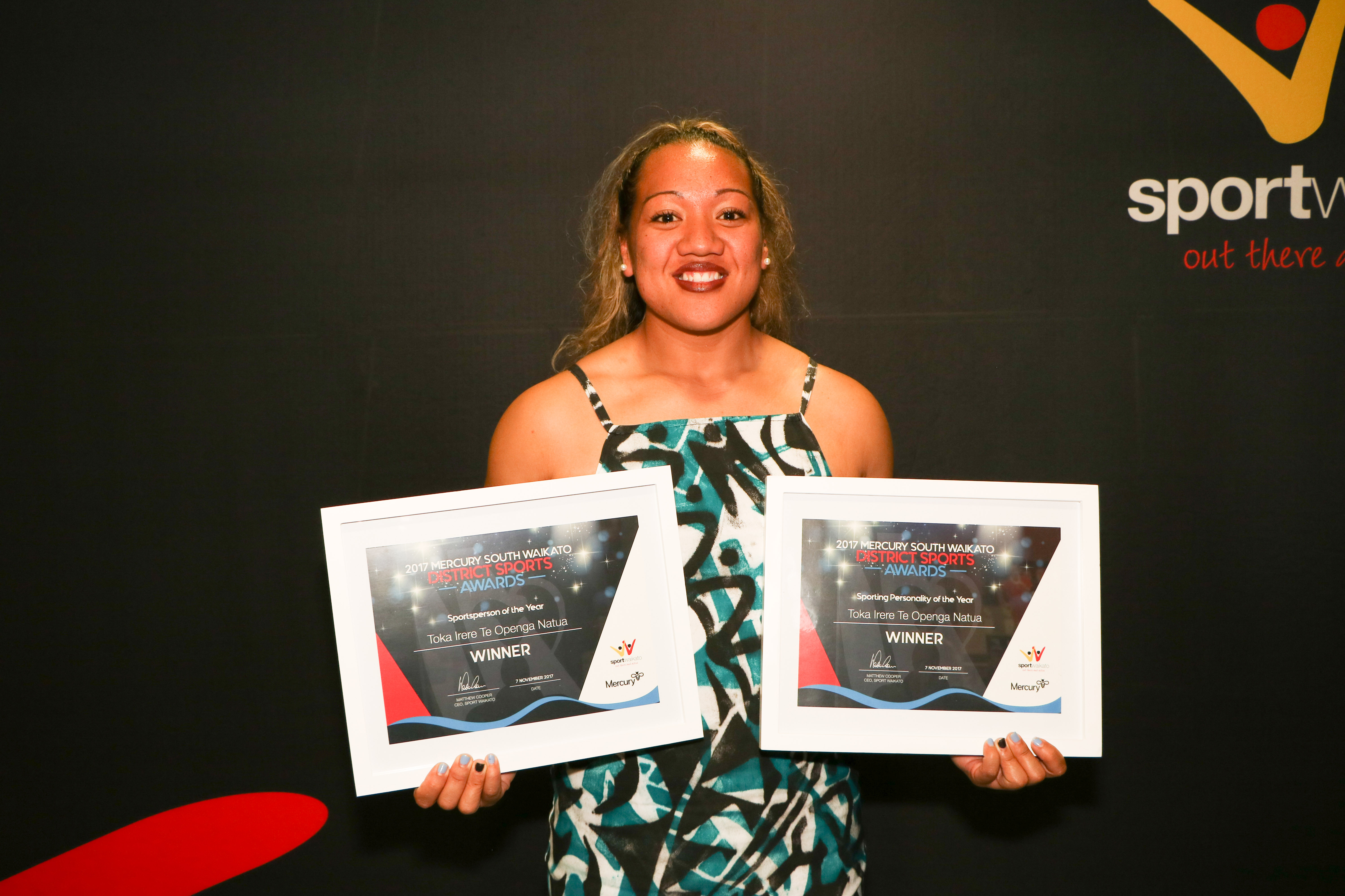 Toka Irere Te Openga Natua takes out two titles at the Mercury South Waikato District Sports Awards